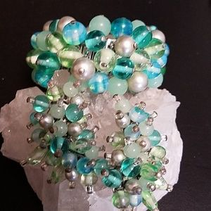 Vintage Cha Cha Bracelet & Earrings Set Blue/Green